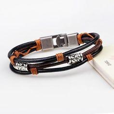 Pulseras de cuero Layered Bracelets, Wax, Leather, Jewelry, Color Black, China, Ideas, Products, Fashion