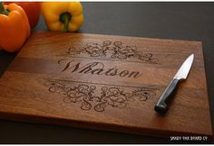 Personalized Cutting Board, Custom Family Name, Laser Engraved, Wedding Gift, Anniversary Gift, Mothers Day Gift, Wedding Shower Gift.