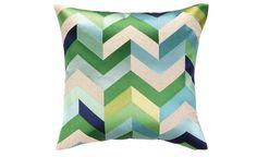 Blue & Green Chevron Pillow | Nest and Burrow