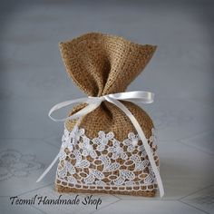Candy Favor Bag Wedding Burlap Gift Bag Bridal Shower by Teomil
