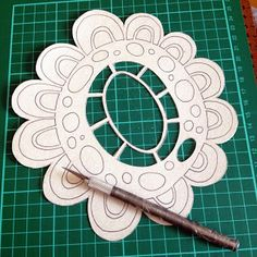 Paisley and Brown Paper... I have also been creating some of my own stencils to use with my new Gelli Plate. Whilst I was browsing on Pinterest one night, I came across Steffi Moellers Blog and was inspired by one of her own stencil designs. I wanted to re-create it to use in my own work, so I made some small changes to it and came up with this little one! Full credit goes to Steffi Moeller for the idea, and all my gelli print creations are for personal use and will never be sold.