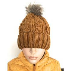 Soft Camel Chunky Knit Hat, Burnt Orange Slouchy Hat,Pom Pom... ($15) ❤ liked on Polyvore featuring accessories, hats, beanie cap hat, faux fur pom pom hat, slouch beanie, slouchy hat and pom beanie