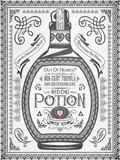 Interesting Letterpress Composition {vintage typography ornate line art} // Legend of Zelda Red Potion by Barrett Biggers