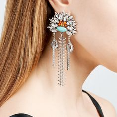 Exaggerated Europe Style Chunky Party Statement Earrings Women Vintage  Jewelry Big Long Earrings a3d07d33aadb