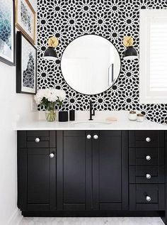 Tiled floors are a given in bathrooms, but have you considered tiling your walls with a patterned design? Try it as a long-lasting wallpaper alternative!