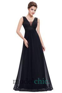 Bernadette Sleeveless Chiffon Formal Dress in Black