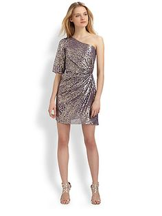 Metallic silk dress by Shoshanna