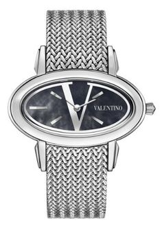 Valentino Women's V50SBQ9999S099 Signature Stainless Steel Blue Dial Watch Valentino. $877.50. Traditional knitted metal band. Black mother of pearl with stainless steel V logo dial. Swiss quartz movement. Stainless steel case, bezel and band. Water resistance to 30 meters(99 feet). Save 33%!