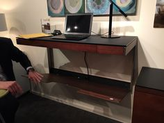 Clever little wall-mounted desk with flip-down panel to hide cords and cables. From BDi. -As seen at High Point Market spring Wall Mounted Desk, High Point Market, Work Station Desk, Spring 2015, Cords, Clever, Furniture, Home Decor, Ropes
