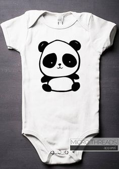 24ca137b5 Panda Baby Bodysuit - Baby Shower Gifts - One-Piece - Baby Clothes - Hand