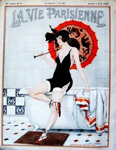 This would look cute in my black & white bathroom. La Vie Parisienne 1919 and 1923 French Art Deco risque by batnicks,