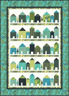 """Quilt Inspiration: Free pattern day! House quilts. Punch Street quilt, 56 x 78"""", free pattern by Daniela Stout for Hoffman Fabrics (PDF download)"""