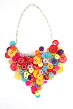 Statement Bib Necklace  Bright Color Button by MimicDesign on Etsy, $17.00