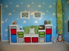My Sons Toy Story Inspired Room, Toddler Toy Story Room, Custom made a cushion for my son to use as a seating area to read books or play , Boys Rooms Design