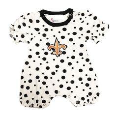 #saints #fleurdelis #polkadot #polkadots #baby #newborn #infant Girl's Polka Dot One-Piece with Fleur-de-Lis - Only $22.99 !!