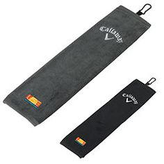 """Callaway® Tri-Fold Golf Towel.  Slim 21""""w x 16""""h size. Material: Microfiber, Soft and absorbent, 100% cotton. Carabineer attachment clip for easy access. Towel Size: 21""""w x 16""""h. Product Colours: Black, Charcoal, White. Price Includes: embroidery; limit 8,000 stitches in 1 location. Standard Imprint Method: Embroidery: Top, 2-1/2"""" dia., 5 color(s) max Production Time (in business days): Standard: 12 days. For costs & ordering info contact: www.Fivetwentyfour.ca"""