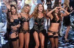 Lily Aldridge, Candice Swanepoel, Doutzen Kroes and Alessandra Ambrosio; on Victoria's Secret Fashion Show, 2014.