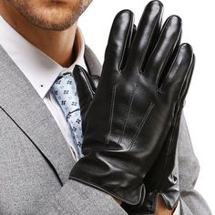 Harrms Best Touchscreen Nappa Genuine Leather Gloves for men's Texting Driving Winter Cold Weather Gloves Leather Driving Gloves, Leather Gloves, Leather Men, Black Leather, Black Men, Black And Brown, Deerskin Gloves, Herren Winter, Cold Weather Gloves