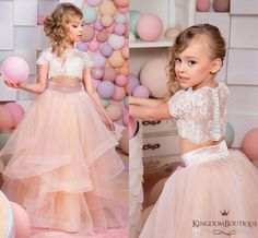 2016 Coral Two Pieces Lace Ball Gown Flower Girl Dresses Vintage Child Pageant Dresses Beautiful Flower Girl Wedding Dresses F052 Junior Flower Girl Dresses Little Girls Wedding Dresses From Weddingmall, $59.41| Dhgate.Com