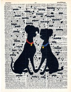 Vintage Repurposed Dictionary Art Featuring Disney's 101 Dalmations * Buy 2 get 3rd FREE