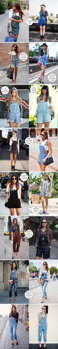 Look para inspirar, como usar, salopete jeans, jardineira, camiseta, blusa ciganinha, macacão, macacão de couro, jumpsuit