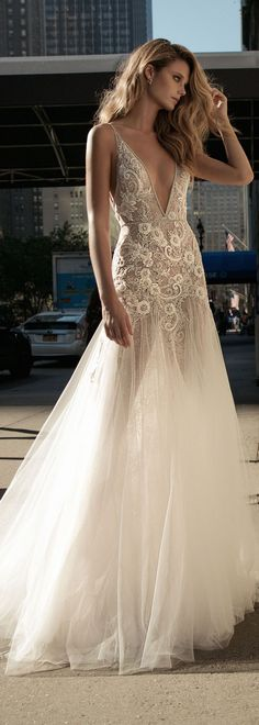 berta fall 2017 bridal sleeveless thing strap deep v neckline heavily embellished bodice sexy romantic tulle skirt a line weding dress low back chapel train mv - Wedding Dress Wedding Dress Chiffon, Wedding Dress Trends, New Wedding Dresses, Bridal Dresses, Wedding Ideas, Wedding Reception, Reception Ideas, Wedding Inspiration, Mermaid Dresses