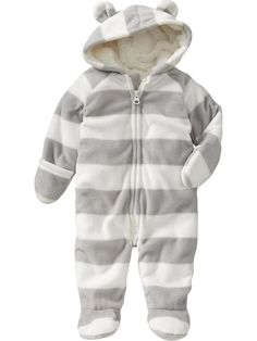 Old Navy | Micro-Performance Fleece Hooded One-Pieces for Baby