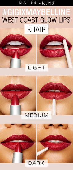 The gigixmaybelline West Coast Glow collection features three gorgeous red lipsticks for the perfect pop of color.  The shade 'Khair' is a nice berry toned red that's perfect for a dramatic lip look.  You can purchase as a lip kit or separately as a lipstick and lip liner.  Exclusively at Ulta Beauty!