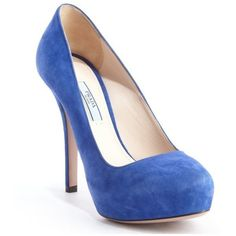 Prada Blue suede hidden platform pumps ($600) via Polyvore