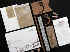 Giada + Davide's Kraft Paper and Lace Wedding Invitations by Cut and Paste