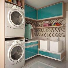 Gente, olha que fofa essa área de serviço?!? Chega da vontade de lavar umas roupinhas!! #Bomdia #Boasemana #Áreadeserviço #Arquitetura #Interiores #Dueinspira #Duerealiza #ByPinterest