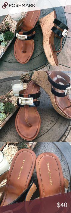 """Tommy Hilfiger Sandal Wedges Flip Flops Tommy Hilfiger wedges. These are super cute sandal wedges. Cork heel. Lightly worn. Heel 3.5"""" Tommy Hilfiger Shoes Wedges"""