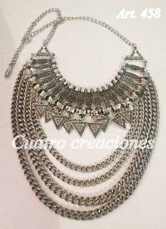 Collar Pechera Con Triangulos - $ 270,00 en MercadoLibre Bohemian Gypsy, Boho, Diy Accessories, Diy Earrings, Silver Necklaces, Jewelry Art, Jewelry Making, Bangles, Gems