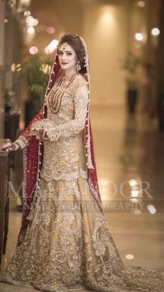 Anarkali = Net Dress with Hand embroidery. Be your gorgeous self in this beautiful dress, perfect for a party, function or wedding. Style the look with a ring and a pair of earrings. Pakistani Bridal Makeup, Bridal Mehndi Dresses, Nikkah Dress, Asian Wedding Dress, Shadi Dresses, Pakistani Wedding Outfits, Bridal Dress Design, Wedding Dresses For Girls, Bridal Outfits