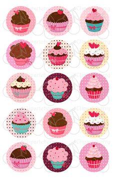 Sweet Cupcakes 1 Inch Digital Circles Design 4x6-15 Images- 4x6 Sheet. $2.50, via Etsy.