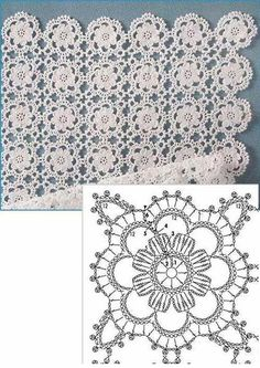 Delicate Crochet Motif - Free Crochet Diagram - (ivelisefeitoamao) by carlani Crochet Motifs, Crochet Blocks, Crochet Diagram, Crochet Stitches Patterns, Crochet Squares, Crochet Chart, Thread Crochet, Crochet Granny, Crochet Doilies
