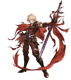 albert (granblue fantasy) albert (shingeki no bahamut) armor blonde hair boots dagger full body gauntlets granblue fantasy looking at viewer male focus minaba hideo official art red cape red eyes shingeki no bahamut solo standing sword weapon whit Fantasy Male, Fantasy Warrior, Anime Fantasy, Character Design References, Game Character, Character Concept, Concept Art, Anime Manga, Anime Guys