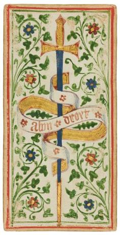 The Ace of Swords   Visconti-Sforza Tarot Cards   1450-1480   Morgan Library & Museum   Museum #: MS M.630 (no. 1)