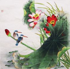 original painting oriental art chinese traditional painting -lotus with two birds