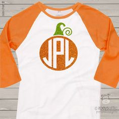 monogram glitter shirt, sparkly pumpkin, custom raglan shirt