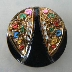 Black Glass Buttons