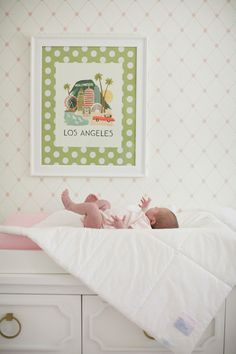An Adorable Nursery from Lane Dittoe. And a fun vintage inspired Los Angeles print.   Read more - http://www.stylemepretty.com/living/2013/07/15/an-adorable-nursery-from-lane-dittoe/