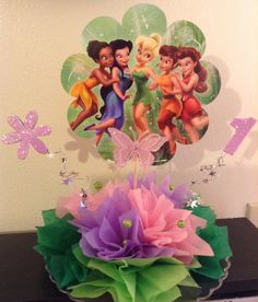Tinkerbell centerpiece... shellysdecor4you@gmail.com #Birthdays #BabyShowers #Graduations etc...