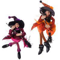 Halloween witch in purple dress or orange dress by RAZ Imports. H3519070