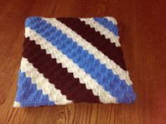 Crochet Baby Blanket Diagonal Striped Blue, Chocolate and Off White