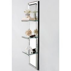 Howard Elliott Mirrored 3 Shelf Unit 42 5 Quot Tall Mirrored