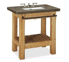 Abbott Concrete Counter & Reclaimed Wood Single Sink Console at Pottery Barn