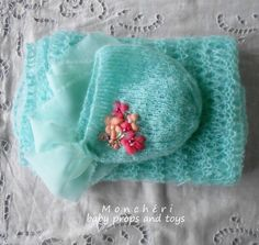 Bonnet and wrap  baby props by pavlucha on Etsy