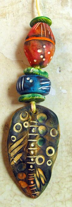 Artisan Statement Beads  Handmade from Polymer by MargitBoehmer, $17.00