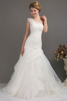 Gorgeous Trumpet-Mermaid One Shoulder Chapel Train Organza Fit and Flare Wedding Dress CWLT130DD